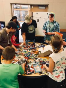 Students on free comic book day