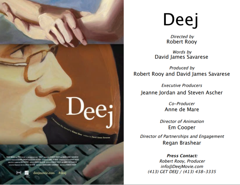 A poster about the documentary, Deej