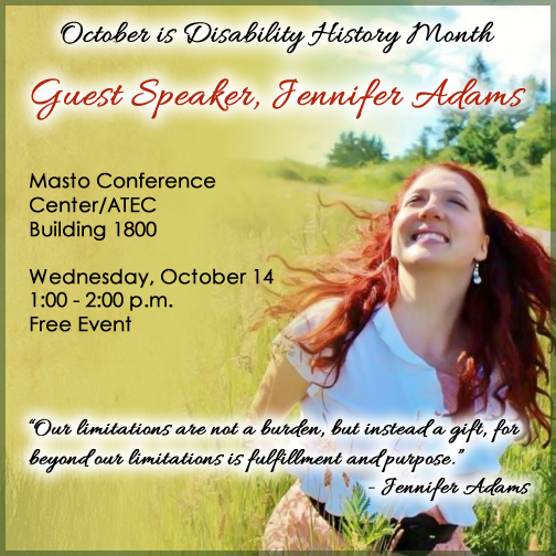 Poster for Jennifer Adams event