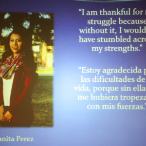 "Juanita Perez says ""I am thankful for my struggle because without it, I wouldn't have stumbled across my strengths."""