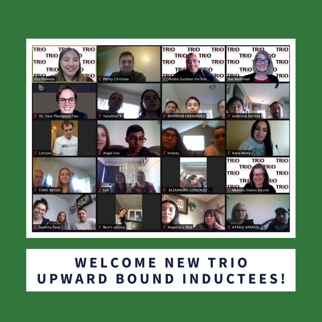 screenshot of zoom call with 5 rows of participants, with the words welcome new trio upward bound inductees