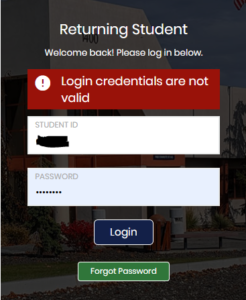 """Error message saying """"Login credentials are not valid"""""""